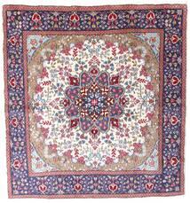 Kerman Dywan 192X206 Orientalny Tkany Ręcznie Kwadratowy Ciemnofioletowy/Beżowy (Wełna, Persja/Iran)
