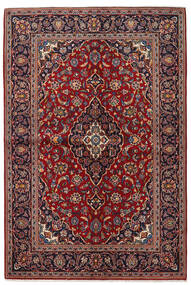 カシャン 絨毯 142X211 オリエンタル 手織り 深紅色の/黒 (ウール, ペルシャ/イラン)