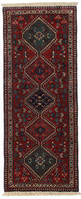 Yalameh Rug 60X148 Authentic Oriental Handknotted Hallway Runner Dark Brown/Dark Red (Wool, Persia/Iran)