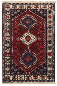 Yalameh Rug 83X125 Authentic Oriental Handknotted Dark Red/Black (Wool, Persia/Iran)
