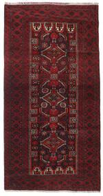 Belutsch Teppich  91X177 Echter Orientalischer Handgeknüpfter Läufer Dunkelrot/Dunkelbraun (Wolle, Persien/Iran)