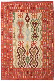 Kilim Afghan Old Style Rug 211X306 Authentic  Oriental Handwoven Rust Red/Beige (Wool, Afghanistan)