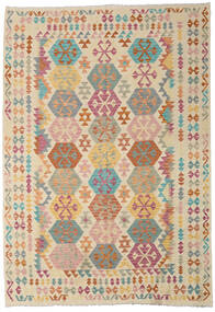 Kilim Afghan Old Style Tappeto 209X299 Orientale Tessuto A Mano Beige/Beige Scuro (Lana, Afghanistan)