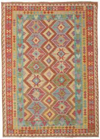 Kelim Afghan Old Style Vloerkleed 209X291 Echt Oosters Handgeweven Donkerbeige/Donkerrood (Wol, Afghanistan)