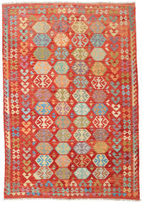 Kilim Afghan Old Style Rug 203X291 Authentic  Oriental Handwoven Rust Red/Crimson Red (Wool, Afghanistan)
