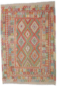 Kilim Afghan Old Style Rug 203X297 Authentic Oriental Handwoven Light Grey/Dark Red (Wool, Afghanistan)