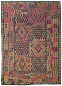 Kilim Afghan Old Style Rug 209X288 Authentic  Oriental Handwoven Dark Grey/Light Brown (Wool, Afghanistan)