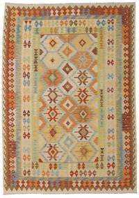 Kilim Afghan Old Style Rug 210X252 Authentic  Oriental Handwoven Brown/Light Green (Wool, Afghanistan)