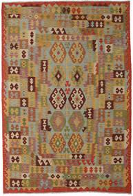 Kelim Afghan Old Style Matta 202X293 Äkta Orientalisk Handvävd Ljusbrun/Olivgrön (Ull, Afghanistan)