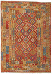 Kilim Afghan Old Style Rug 204X286 Authentic  Oriental Handwoven Light Brown/Brown/Orange (Wool, Afghanistan)