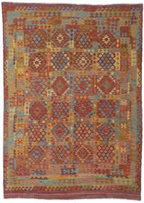 Kilim Afegão Old Style Tapete 203X285 Oriental Tecidos À Mão Vermelho Escuro/Castanho (Lã, Afeganistão)