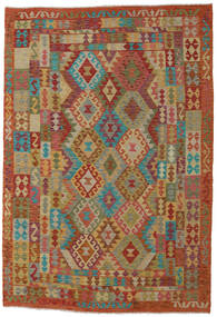 Kilim Afegão Old Style Tapete 201X295 Oriental Tecidos À Mão Castanho Claro/Vermelho (Lã, Afeganistão)