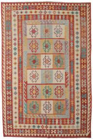 Kelim Afghán Old Style Koberec 200X303 Orientální Ruční Tkaní Tmavě Červená/Světle Hnědá (Vlna, Afghánistán)