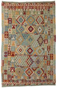 Kelim Afghan Old Style Matta 197X303 Äkta Orientalisk Handvävd Ljusgrå/Mörkgrön (Ull, Afghanistan)