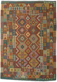 Kelim Afghan Old Style Matta 200X300 Äkta Orientalisk Handvävd Ljusbrun/Mörkgrön (Ull, Afghanistan)