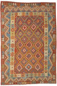 Kelim Afghan Old Style Matta 201X297 Äkta Orientalisk Handvävd Mörkbeige/Mörk Turkos (Ull, Afghanistan)