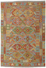Kilim Afghan Old Style Tappeto 203X295 Orientale Tessuto A Mano Marrone Chiaro/Verde Oliva (Lana, Afghanistan)