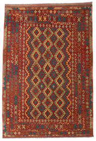 Kilim Afghan Old Style Rug 204X305 Authentic  Oriental Handwoven Dark Red/Light Brown (Wool, Afghanistan)
