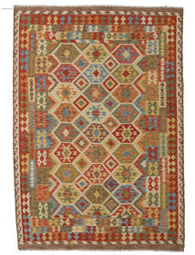 Kilim Afghan Old Style Tappeto 207X294 Orientale Tessuto A Mano Marrone Chiaro/Beige Scuro (Lana, Afghanistan)