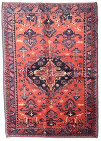 Hamadan Vloerkleed 155X225 Echt Oosters Handgeknoopt Donkerpaars/Lichtroze (Wol, Perzië/Iran)
