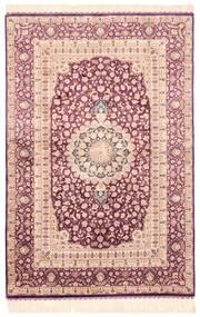 Ghom Silke Matta 100X148 Äkta Orientalisk Handknuten Beige/Ljusrosa (Silke, Persien/Iran)