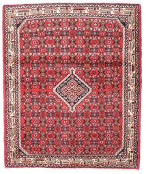 Hosseinabad Matta 106X129 Äkta Orientalisk Handknuten Mörkröd/Ljusrosa (Ull, Persien/Iran)