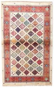 Kashmir Art. Silke Tæppe 102X164 Ægte Orientalsk Håndknyttet Beige/Lysegrå ( Indien)