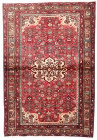 Hosseinabad Dywan 112X163 Orientalny Tkany Ręcznie Ciemnoczerwony/Beżowy (Wełna, Persja/Iran)