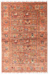 Shabargan Rug 101X156 Authentic Modern Handknotted Dark Red/Light Pink (Wool, Afghanistan)