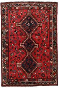 Shiraz Matta 132X197 Äkta Orientalisk Handknuten Mörkröd/Mörkbrun (Ull, Persien/Iran)
