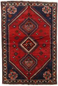 Shiraz Teppich 155X230 Echter Orientalischer Handgeknüpfter Dunkelbraun/Dunkelrot (Wolle, Persien/Iran)