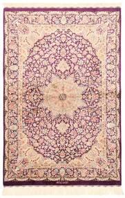 Ghom Seide Teppich  100X148 Echter Orientalischer Handgewebter Beige/Hellrosa (Seide, Persien/Iran)