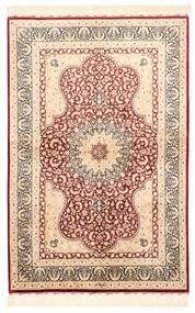 Ghom Seide Teppich 98X147 Echter Orientalischer Handgewebter Beige/Dunkelbraun (Seide, Persien/Iran)