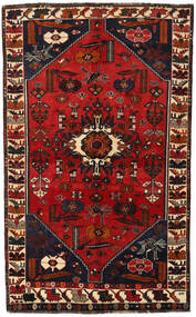 Shiraz Rug 147X239 Authentic Oriental Handknotted Black/Dark Red/Rust Red (Wool, Persia/Iran)