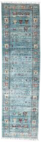 Shabargan Tapis 81X299 Moderne Fait Main Tapis Couloir Bleu Clair/Turquoise Foncé (Laine, Afghanistan)
