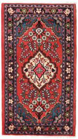 Hamadan Teppich 75X130 Echter Orientalischer Handgeknüpfter Dunkelrot/Dunkelbraun (Wolle, Persien/Iran)