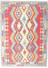 Kilim Afghan Old Style Rug 127X176 Authentic  Oriental Handwoven Light Grey/White/Creme (Wool, Afghanistan)