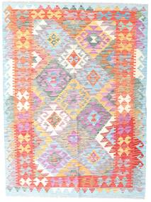 Kilim Afghan Old Style Rug 132X178 Authentic  Oriental Handwoven White/Creme/Light Pink (Wool, Afghanistan)