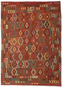 Kilim Afghan Old Style Rug 246X341 Authentic  Oriental Handwoven Dark Red/Rust Red (Wool, Afghanistan)