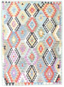 Kilim Afghan Old Style Rug 130X176 Authentic  Oriental Handwoven White/Creme/Turquoise Blue (Wool, Afghanistan)
