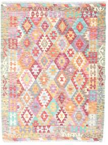 Kelim Afghan Old Style Teppich  129X169 Echter Orientalischer Handgewebter Hellrosa/Hellgrau (Wolle, Afghanistan)