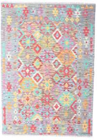 Kelim Afghan Old Style Matta 129X185 Äkta Orientalisk Handvävd Vit/Cremefärgad/Ljusrosa (Ull, Afghanistan)