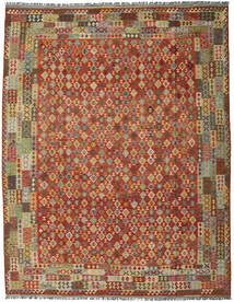 Kilim Afghan Old Style Rug 308X395 Authentic  Oriental Handwoven Crimson Red/Olive Green Large (Wool, Afghanistan)