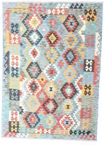 Kelim Afghan Old Style Teppich 131X183 Echter Orientalischer Handgewebter Weiß/Creme/Dunkel Beige (Wolle, Afghanistan)