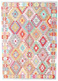Kelim Afghan Old Style Matta 131X183 Äkta Orientalisk Handvävd Ljusrosa/Vit/Cremefärgad (Ull, Afghanistan)