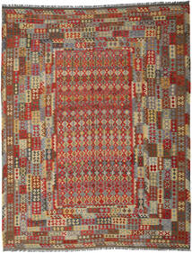 Kilim Afghan Old Style Rug 313X396 Authentic  Oriental Handwoven Dark Red/Dark Grey Large (Wool, Afghanistan)
