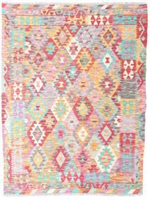 Kelim Afghan Old Style Teppich 130X171 Echter Orientalischer Handgewebter Hellrosa/Beige (Wolle, Afghanistan)