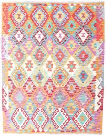 Kelim Afghan Old Style Matto 134X174 Itämainen Käsinkudottu Vaaleanpunainen/Beige (Villa, Afganistan)