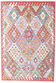 Kilim Afghan Old Style Rug 126X188 Authentic  Oriental Handwoven Light Pink/Light Grey (Wool, Afghanistan)