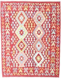 Kelim Afghan Old Style Matta 131X167 Äkta Orientalisk Handvävd Roströd/Ljusrosa (Ull, Afghanistan)